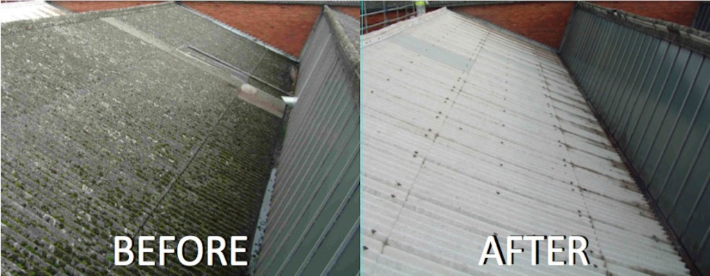 asbestos roof before and after close up