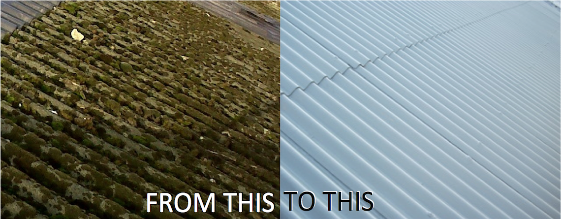 Before and after asbestos roof cleaning.